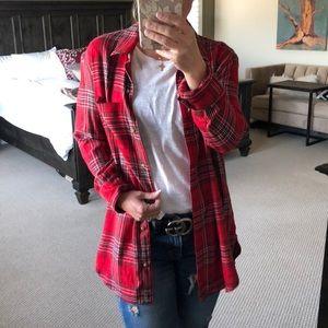 Treasure and bond red plaid boyfriend button shirt